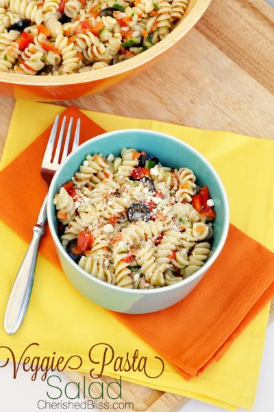This veggie pasta salad is a healthier version of Suddenly Salad, but loaded with colorful veggies.