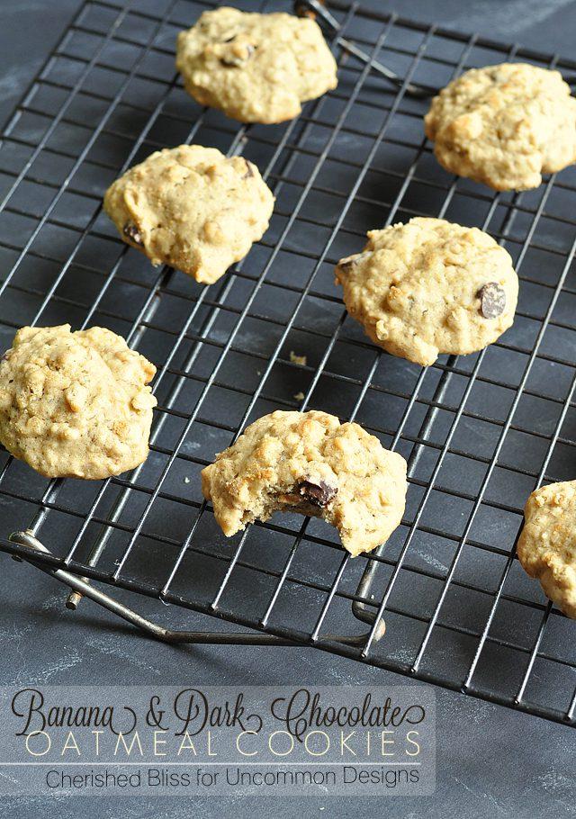 banana dark chocolate oatmeal cookies