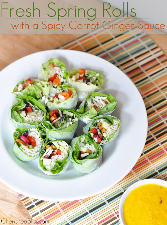 These fresh spring rolls are a wonderful, healthy lunch or dinner option. To top it off there is a yummy spicy carrot ginger sauce to compliment all this goodness.