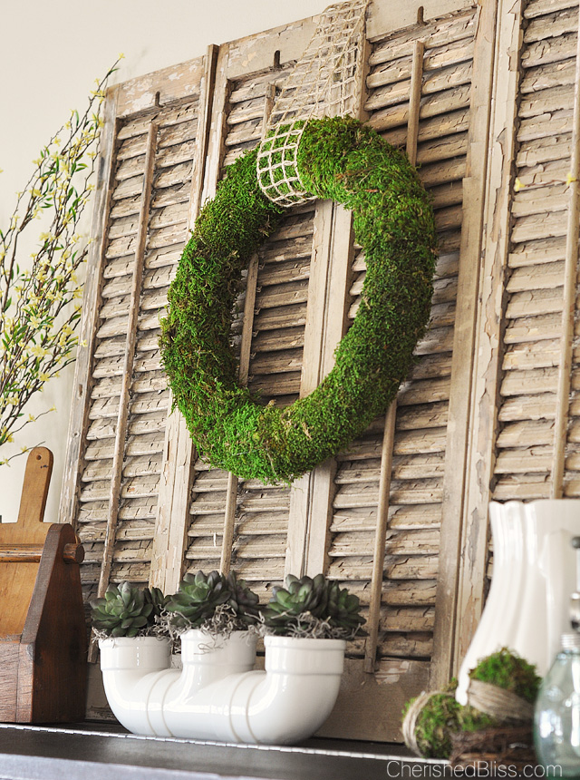 A beautiful Vintage Inspired Rustic Spring Mantel