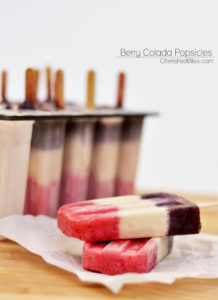 These Berry Colada Popsicles are perfect for Memorial Day Weekend or Forth of July because of their natural red, white, and blue beauty. When serving these fun popsicles you are sure to receive smiles for young to old!