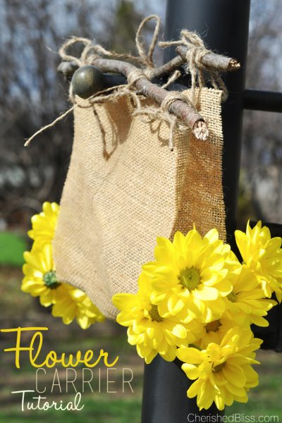 Enjoy Summer and gather up some gorgeous flowers with this easy DIY Burlap Flower Carrier