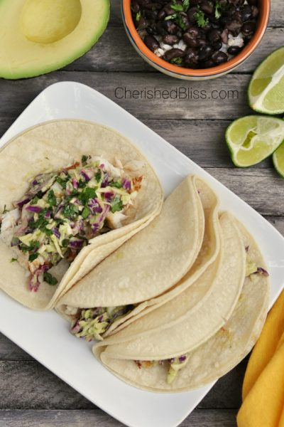 Grilled Fish Tacos with a Tomatillo Avocado Slaw
