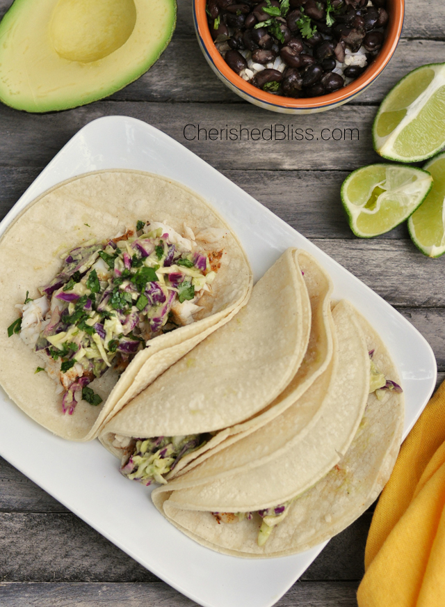 These Grilled Fish Tacos with a Tomatillo Avocado Slaw is a beautiful and delicious dish that has amazing fresh flavors everyone will love!