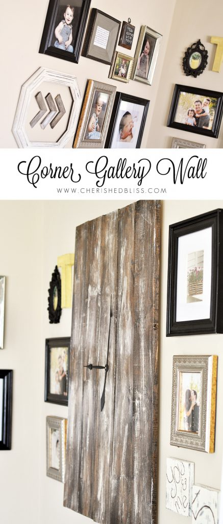 This DIY Corner Gallery Wall features an eclectic blend of frames and special memories! Click to see how it all comes together