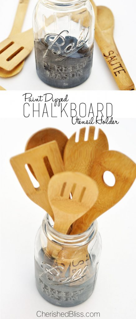 "Add a little character to your kitchen with this DIY Mason Jar Utensil Holder with a ""dipped"" chalkboard accent!"