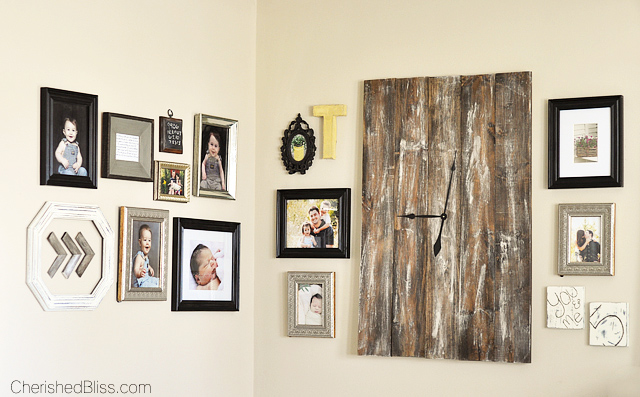 This DIY Corner Gallery Wall features an eclectic blend of frames and special memories! Click to see how it all comes together in this cozy cottage living room!