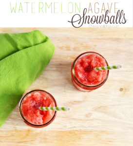 This tasty Watermelon Agave Snowball recipe is super easy and so refreshing on a hot, hot summer day.