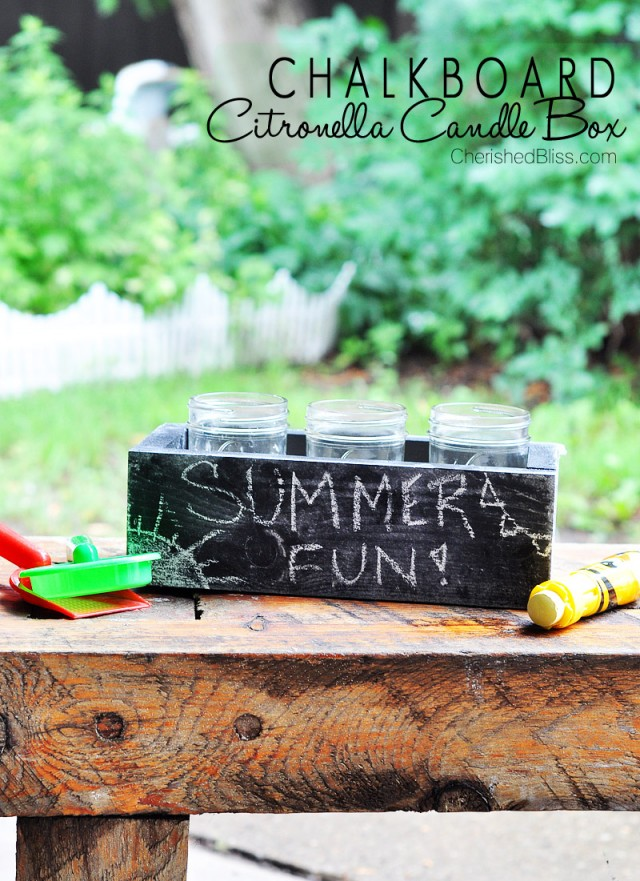 Make your very own Chalkboard Candle Box complete with DIY Citronella Candles