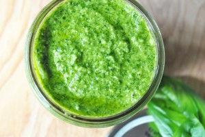 Classic Basil Pesto only requires a few fresh ingredients. A must make this summer!