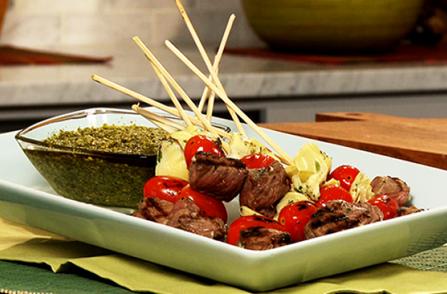 bison-antipasto-skewers-with-pesto-dipping-sauce
