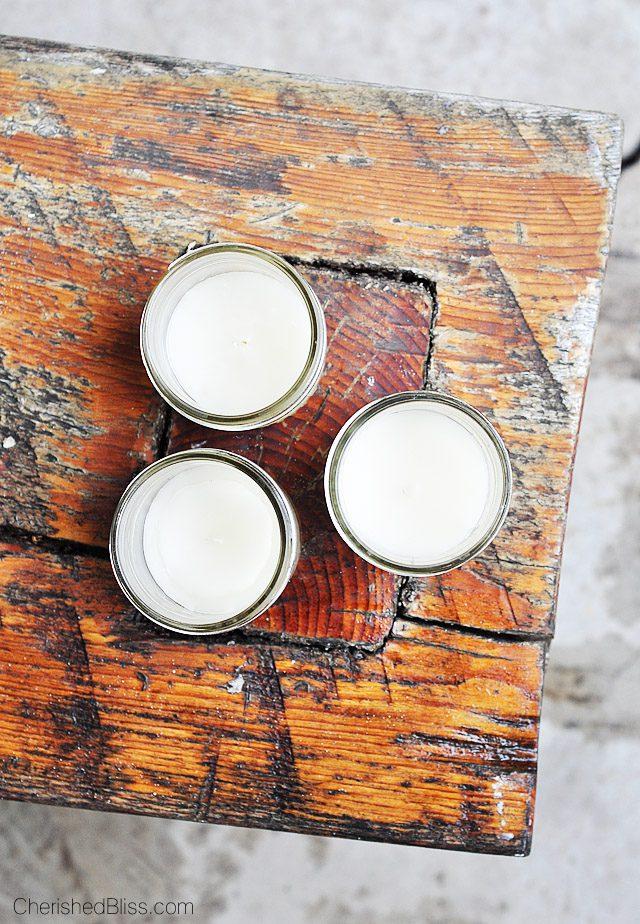 DIY Citronella Candles in Mason Jars