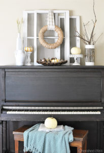 White Rustic Fall Mantel Decor at Cherishedbliss.com