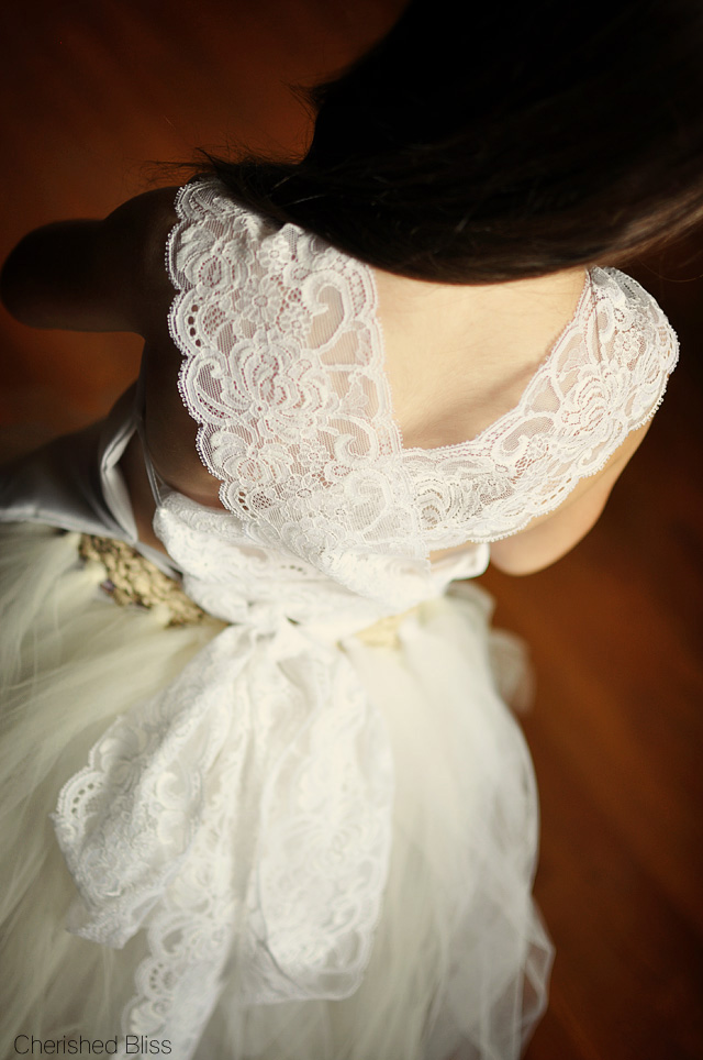A Princess Wedding Dress Costume with a tutorial on how to make a full length tulle skirt