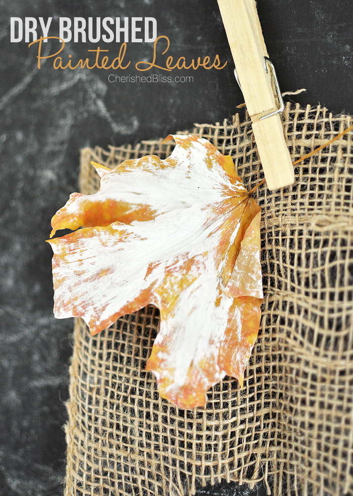 Make these easy Dry Brushed Painted Leaves to accent your fall decor!