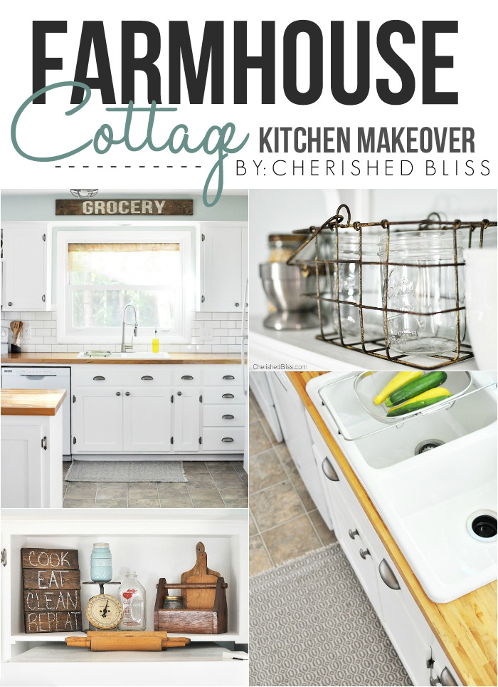 Kitchen hack diy shaker style cabinets cherished bliss love this beautiful farmhouse cottage kitchen shaker style cabinets butcher block counter tops solutioingenieria Gallery