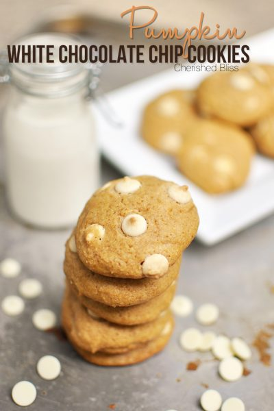 These delicious Pumpkin White Chocolate Chip Cookies taste like a pumpkin pie and a cookie crashed into each other! DELICIOUS!