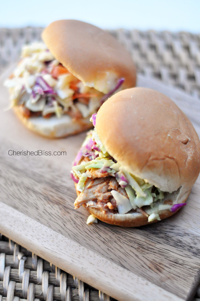 This Slow Cooker BBQ Shredded Chicken has the unique addition of fall spices and is sure to be a hit with the whole family this season! Get the recipe at CherishedBliss.com