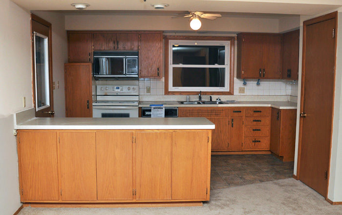 before - This industrial farmhouse kitchen