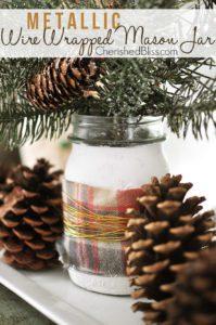 Metallic Wire Wrapped Christmas Mason Jar