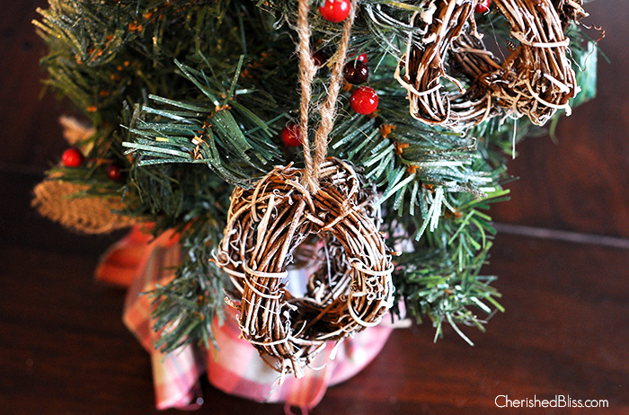 DIY Rustic Painted Rattan Ornaments via Cherishedbliss.com