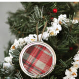 Plaid Mason Jar Lid Ornament