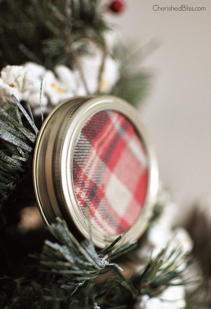 Super Simple and Easy Plaid Mason Jar Lid Ornament via Cherishedbliss.com