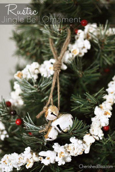 Rustic Jingle Bell Ornament Tutorial via cherishedbliss.com