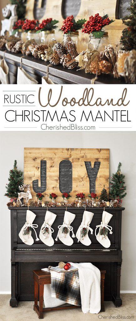 Rustic Woodland Christmas Mantel Cherished Bliss