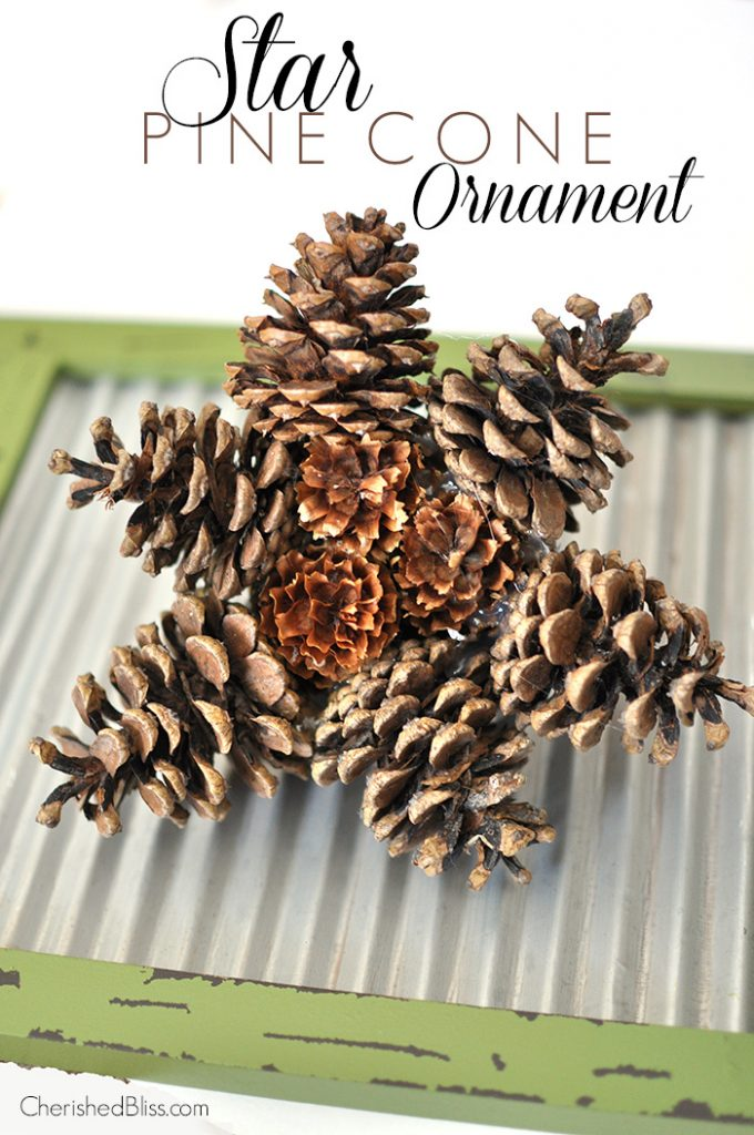 Star pine cone ornament a link party cherished bliss for Christmas projects with pine cones