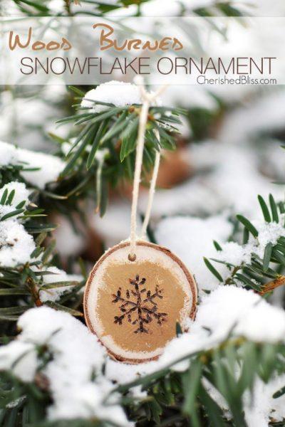 Wood Burned Snowflake Ornament Tutorial via cherishedbliss.com