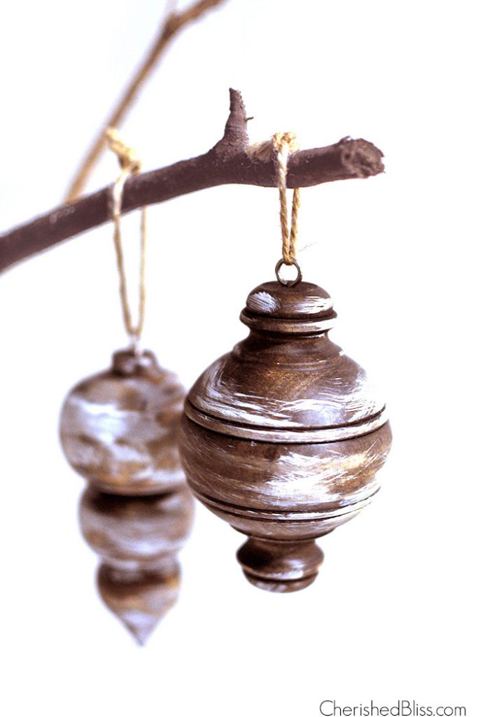Rustic Stained Wooden Ornaments via cherishedbliss.com