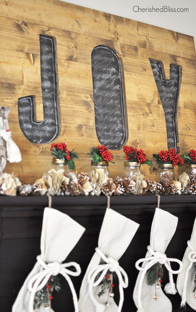 joy sign and stockings copyWelcome in Christmas with this beautiful Rustic Woodland Christmas Mantel