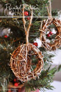 DIY Rustic Painted Rattan Ornaments via Cherishedbliss.com