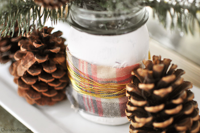 Metallic Wire Wrapped Christmas Mason Jar