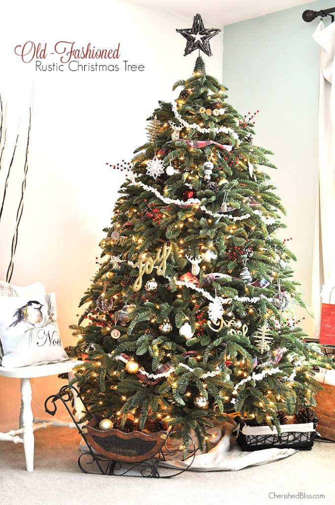 Adorned with Popcorn Garland and Rustic touches, this Old Fashioned Rustic Christmas  Tree will bring - Old Fashioned Rustic Christmas Tree - Cherished Bliss