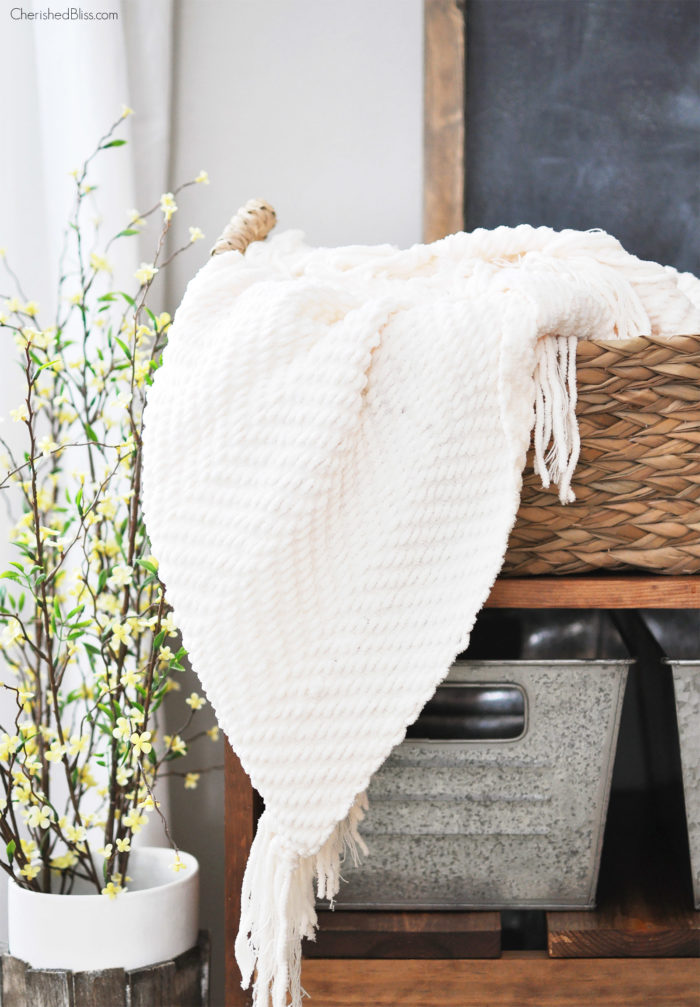Cream Blanket in Basket
