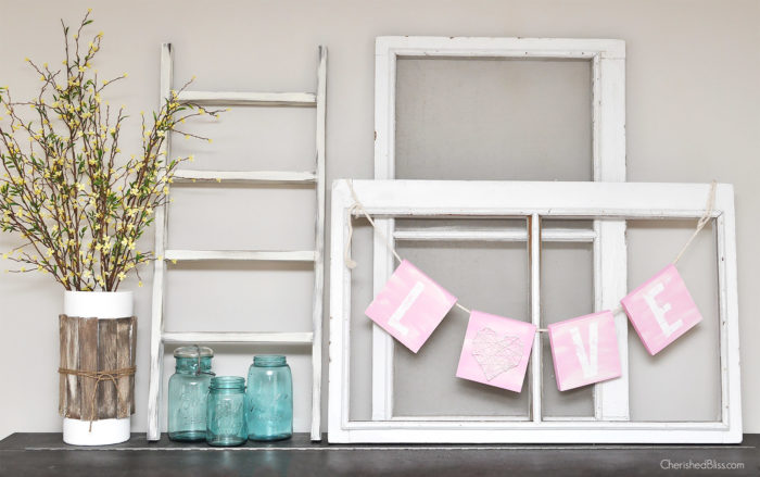 Love this Valentines Day Mantel! Get the tutorial for that adorable Love Sign too!