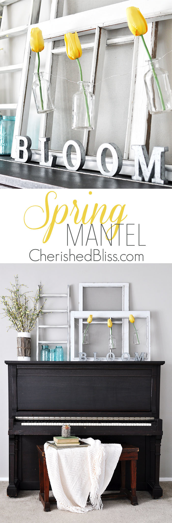 Love this Simple Cottage Farmhouse Spring Mantel from CherishedBliss.com