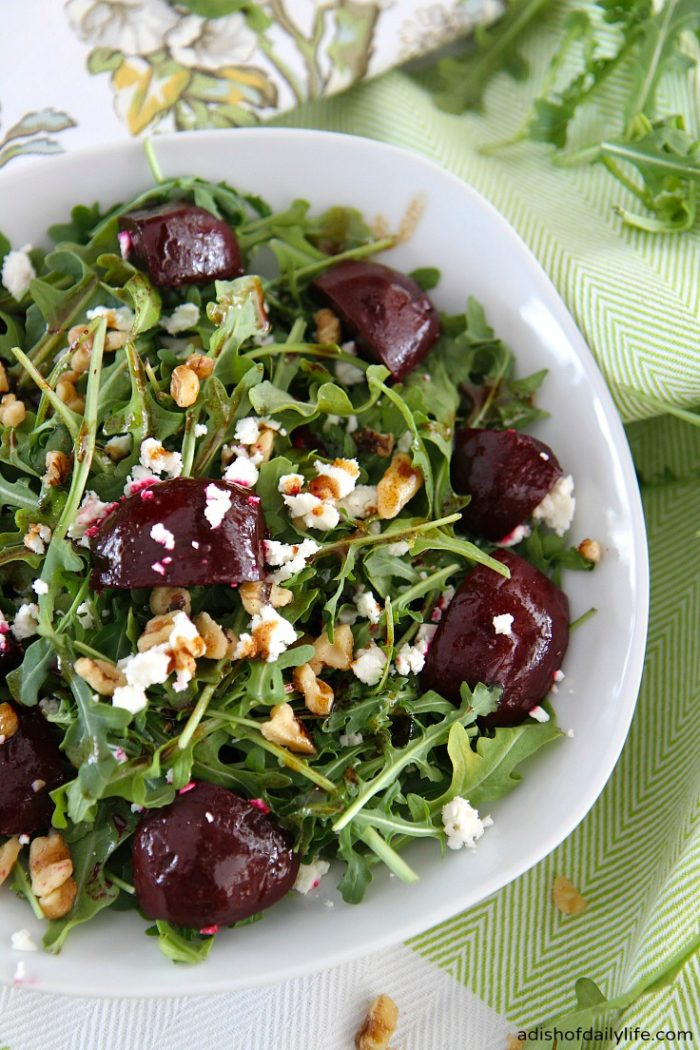 Balsamic-Beet-Salad-with-Arugula-Goat-Cheese-Walnuts