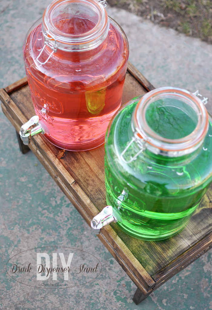 DIY Drink Dispenser Stand. Get the tutorial at cherishedbliss.com