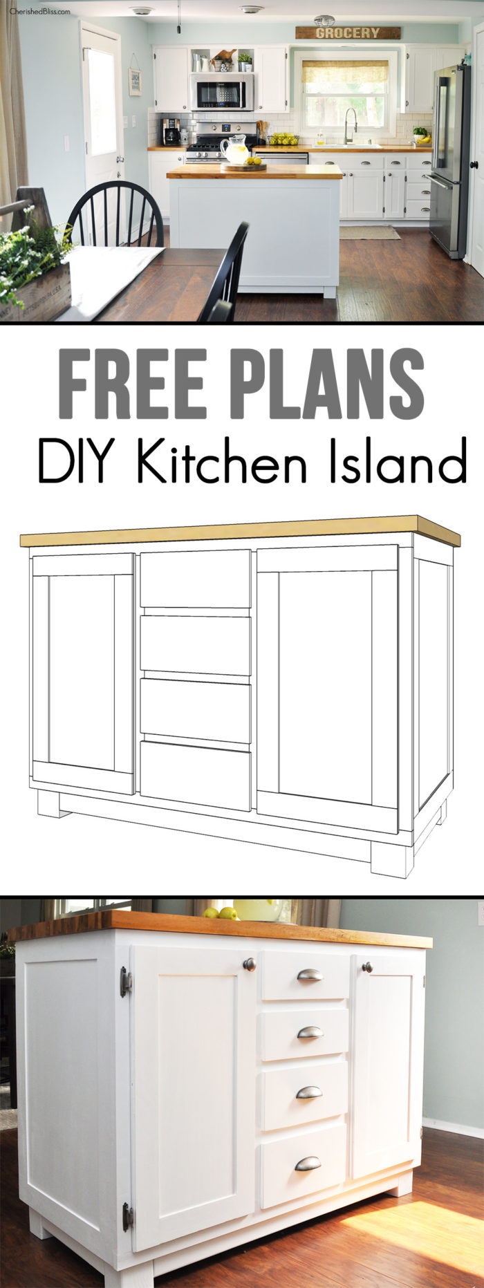 How to build a diy kitchen island cherished bliss for Build kitchen island with cabinets