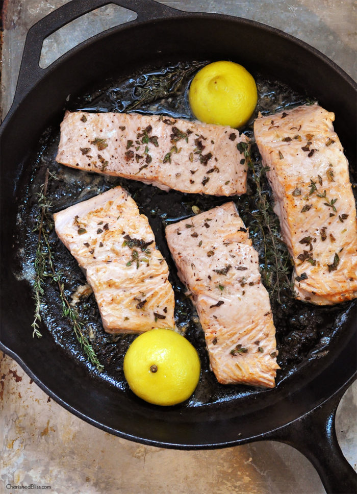 Enjoy a healthy dinner with this Iron Skillet Seared Salmon served with a refreshing Creamy Leek Sauce. The perfect addition to your weekly menu!