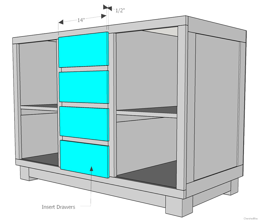 How to build a diy kitchen island cherished bliss for Kitchen cabinet drawers
