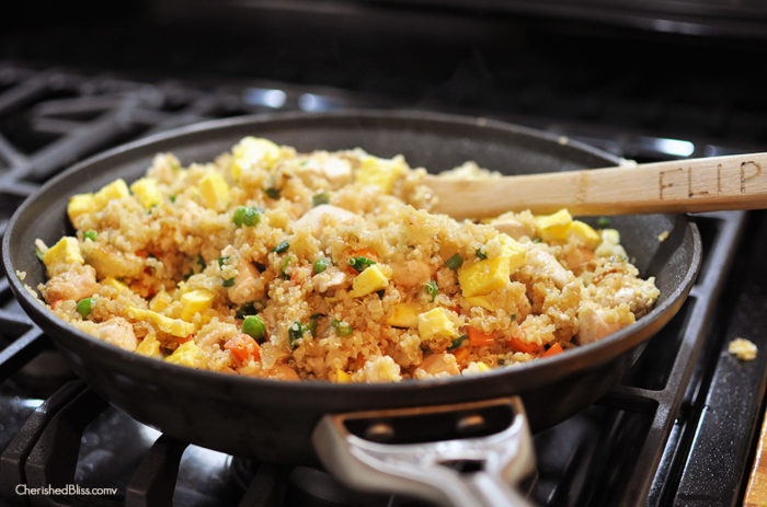 Make this delicious Chicken Fried Quinoa as a quick and easy weeknight dinner without compromising on nutrition! Everyone will love this twist on the traditional Chinese meal!