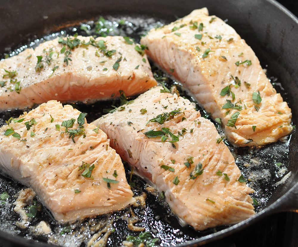 Enjoy A Healthy Dinner With This Iron Skillet Seared Salmon Served With A  Refreshing Creamy Leek
