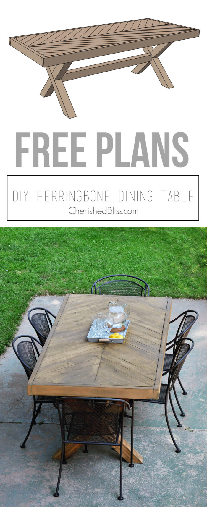 Build This DIY Outdoor Table Featuring A Herringbone Top And X Brace Legs!  Would Also Part 59