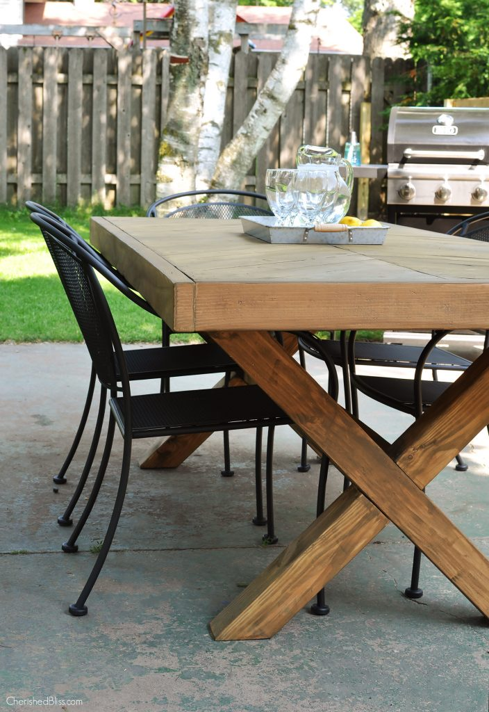 Diy outdoor table free plans cherished bliss for X leg dining room table