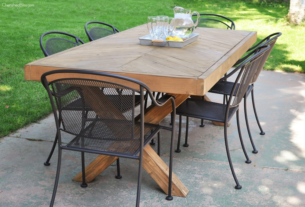 Build this DIY Outdoor Table featuring a Herringbone Top and X Brace Legs!  Would also - DIY Outdoor Table Free Plans - Cherished Bliss