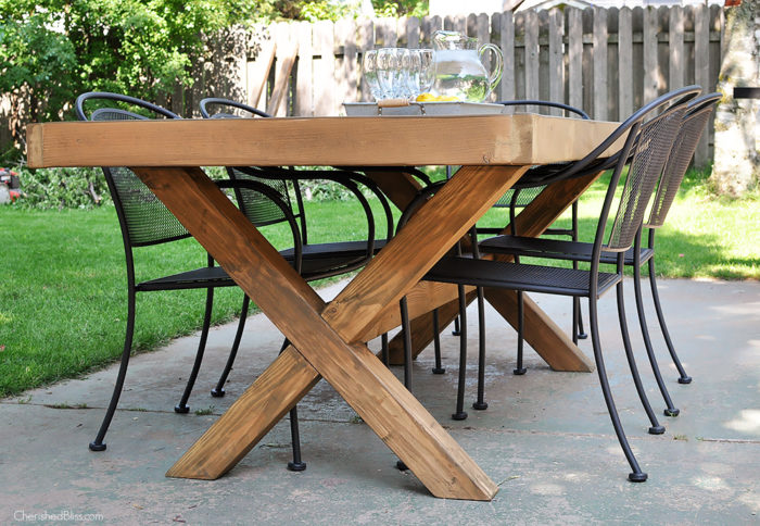 Ana white herringbone top outdoor table featuring for Cross leg table plans